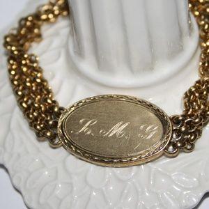 "Vintage gold L. M. G. Bracelet Speidel 6.5"""